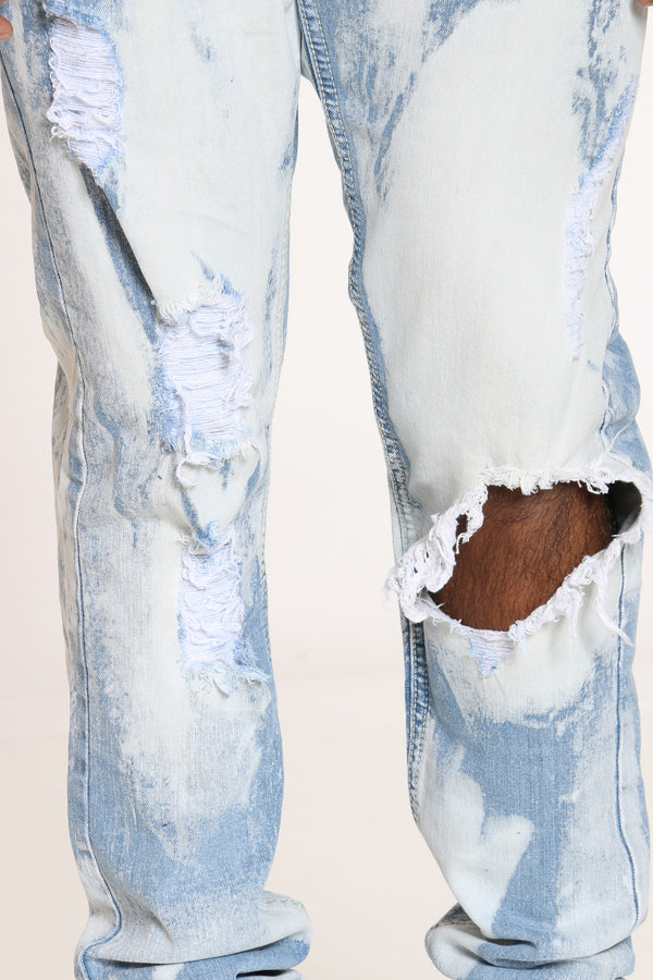 Men's Bleached Ripped Slim Fit Jean - Light Blue
