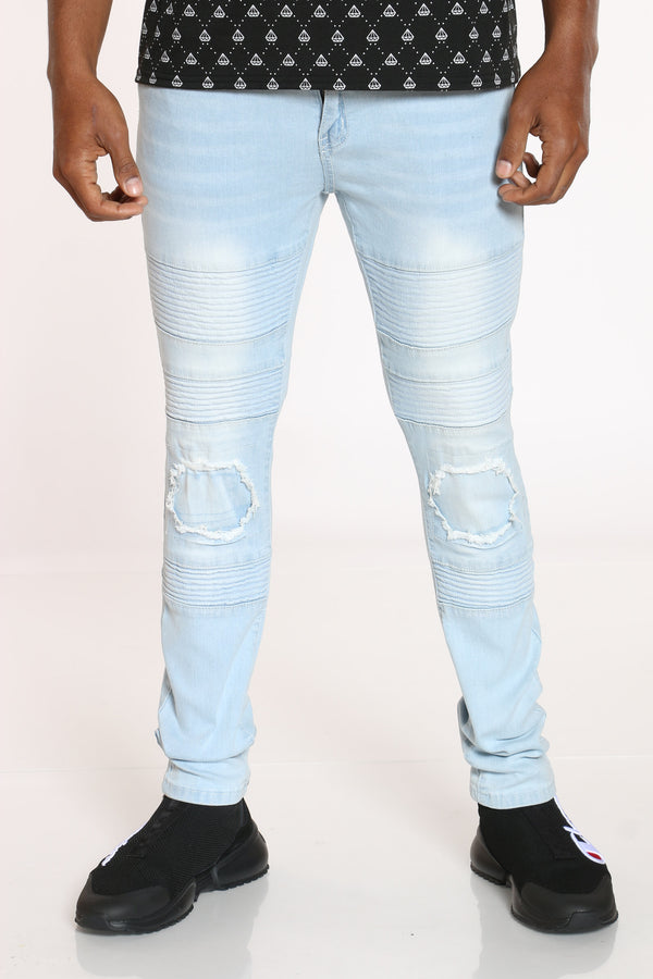 Men's Moto Ripped Knee Jean - Ice Blue-VIM.COM