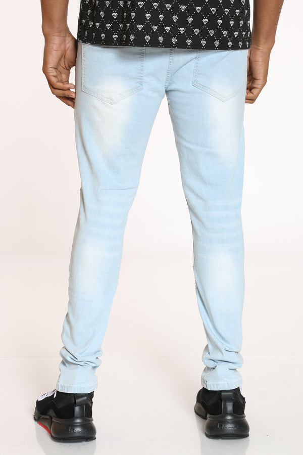 Men's Moto Ripped Knee Jean - Ice Blue