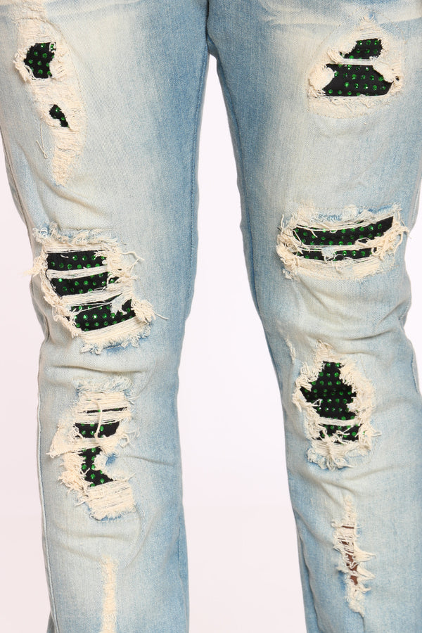 Men's Rhinestone & Ripped Jean - Vintage Green
