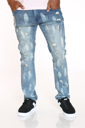 Men's Ripped & Paint Smears Jean - Blue-VIM.COM