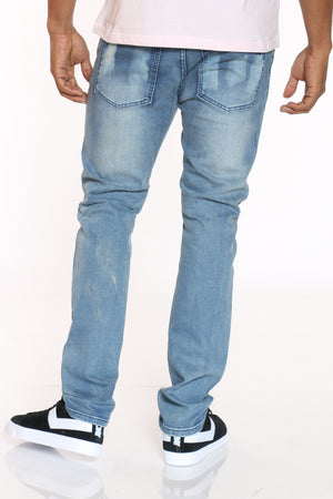 Men's Ripped & Paint Smears Jean - Blue
