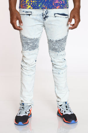 Men's Moto Skinny Jean - Antique Bleach-VIM.COM