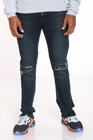 Men's Knee Ripped Patch Straight Fit Jean - Black-VIM.COM