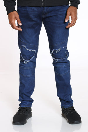 Men's Knee Ripped Straight Fit Jean - Dark Blue-VIM.COM