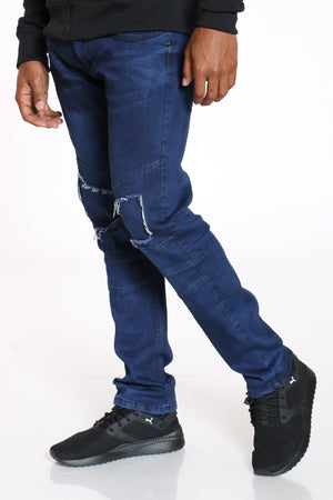 Men's Knee Ripped Straight Fit Jean - Dark Blue