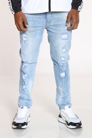 Men's Ripped Skinny Fit Jean - Light Blue-VIM.COM