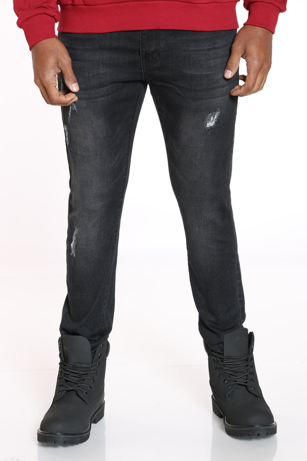 Men's Ripped Skinny Fit Jean - Black-VIM.COM