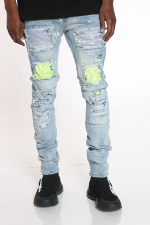 Men's Rhinestones Trim Ripped Jean - Blue