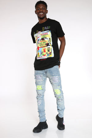 Men's Rhinestones Trim Ripped Jean - Blue-VIM.COM