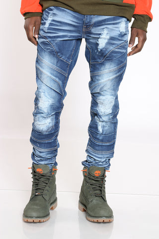 Men's Ripped & Repair Slim Fit Jean - Blue-VIM.COM