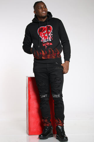 Men's Saint & Sinner Rhinestone Ripped Jean - Black-VIM.COM