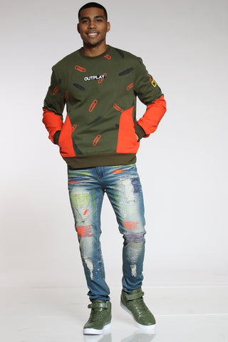 Men's Ripped & Repair Colorful Embroidered Jean - Vintage-VIM.COM