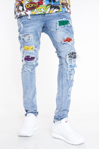 Point Noted Bandana Ripped Jean - Blue Multi-VIM.COM