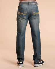 Men'S Embroidery  Pocket Jeans - Vintage