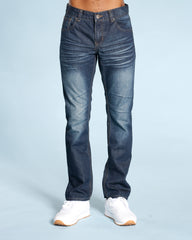 Men'S Embroidery Pocket Straight Fit Jeans - Blue
