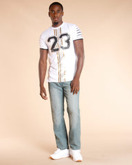 VIM Belted Leather Trim Embroidery Pocket Jeans - Light Blue - Vim.com