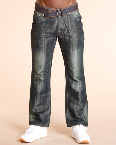 VIM Belted Embroidery Pocket Jeans - Dark Blue - Vim.com