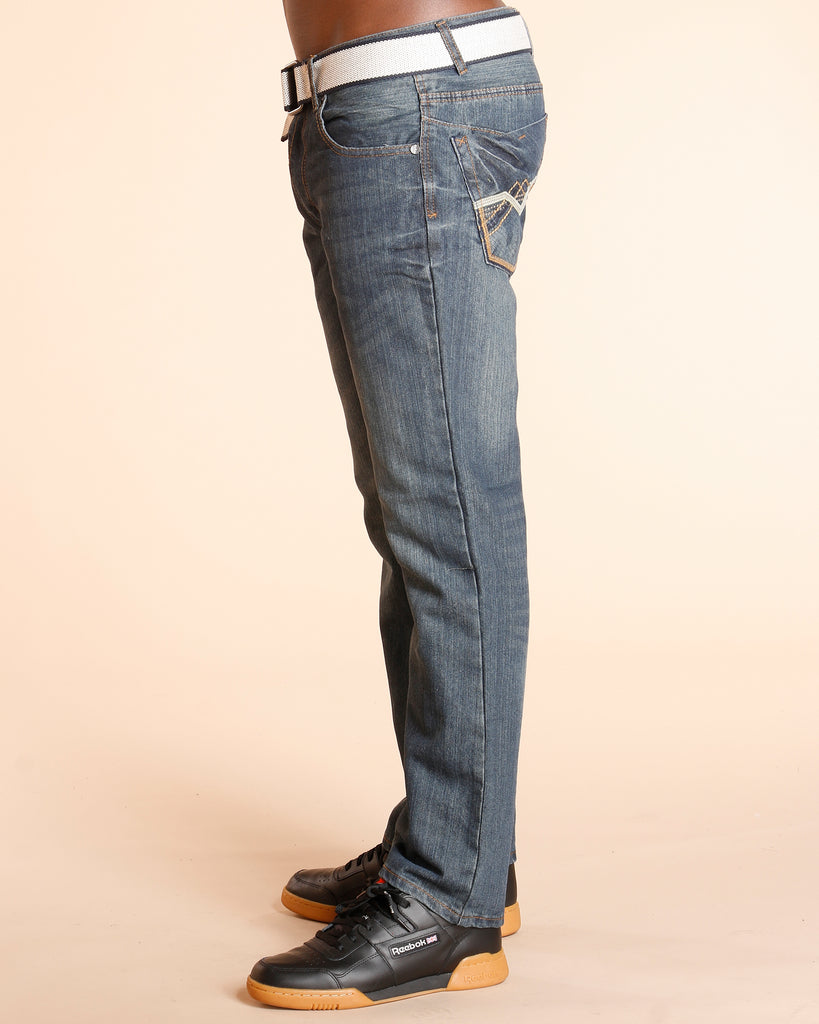 Blue Belted Embroidery Pocket Jeans