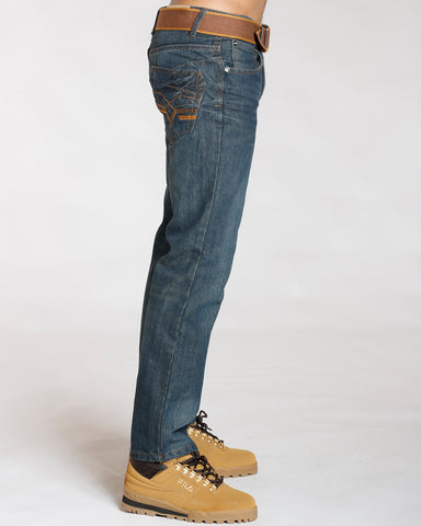 Blue Belted Embroidery Pu Pocket Jeans