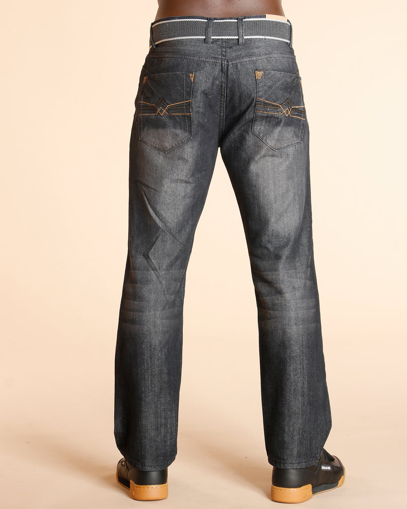 Faded Embriodery Pocket Jeans