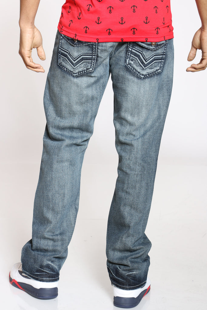 Embroidered Pocket Boot Cut Jean - Blue