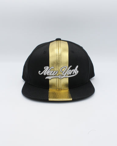Black New York Stripe Snapback Hats