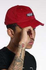 Savage Box Logo Distressed Dad Hat - Black