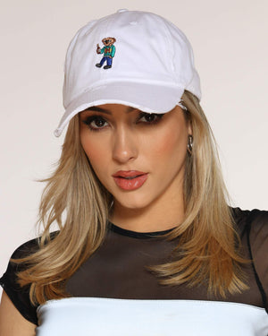 Women's Henny Bear Ripped Dad Hat - White-VIM.COM