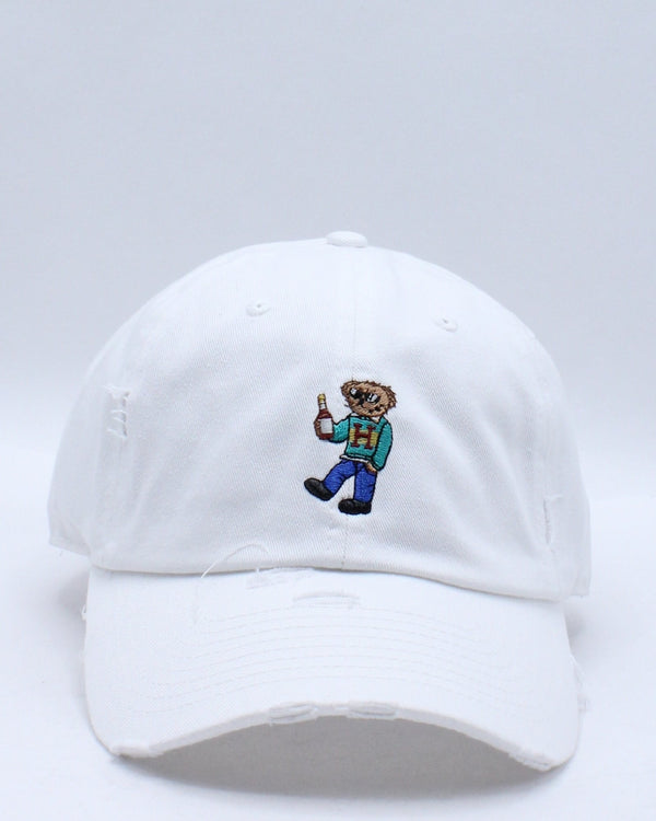 Women's Henny Bear Ripped Dad Hat - White