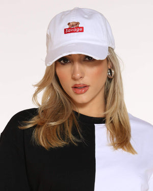 Women's Bear Savage Ripped Dad Hat - White-VIM.COM