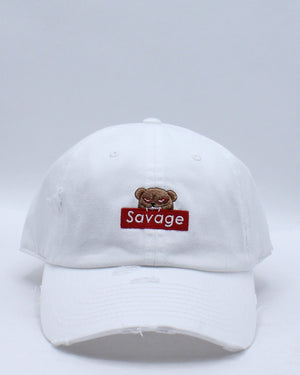 Women's Bear Savage Ripped Dad Hat - White