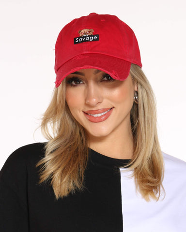 Women's Bear Savage Ripped Dad Hat - Red-VIM.COM