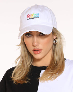 Women's Original Rainbow Repeat Rips Dad Hat - White-VIM.COM