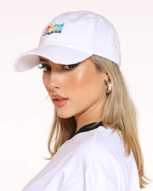 Women's Original Rainbow Repeat Rips Dad Hat - White