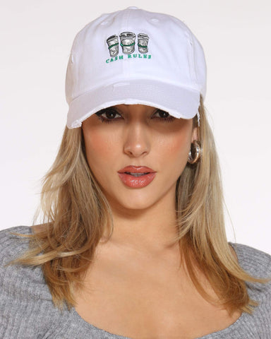 Women's Cash Rules Rips Dad Hat - White-VIM.COM