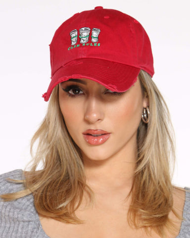 Women's Cash Rules Rips Dad Hat - Red-VIM.COM