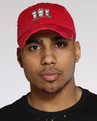 Men's Cash Rules Rips Dad Hat - Red