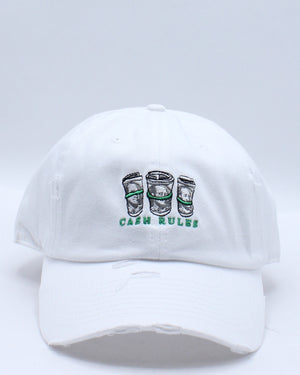 Cash Rules Rips Dad Hat - White