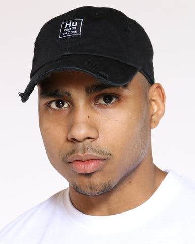 Men's Hu Hustle Patch Ripped Dad Hat - Black-VIM.COM