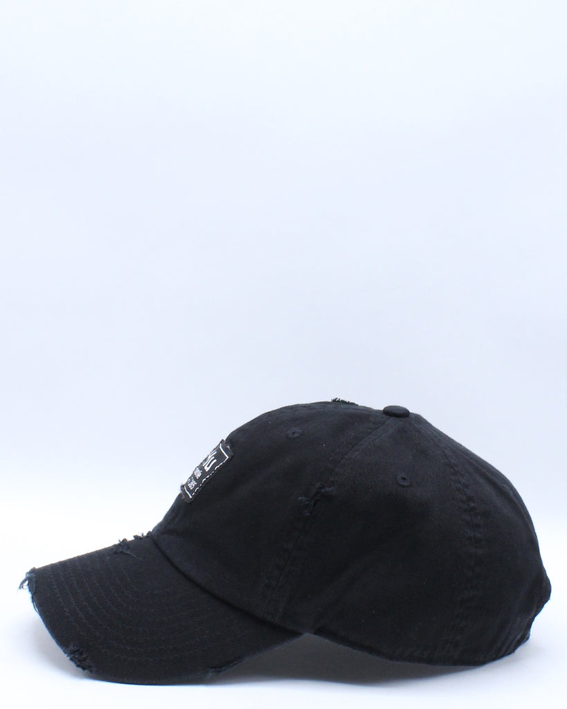 Hu Hustle Patch Ripped Dad Hat - Black