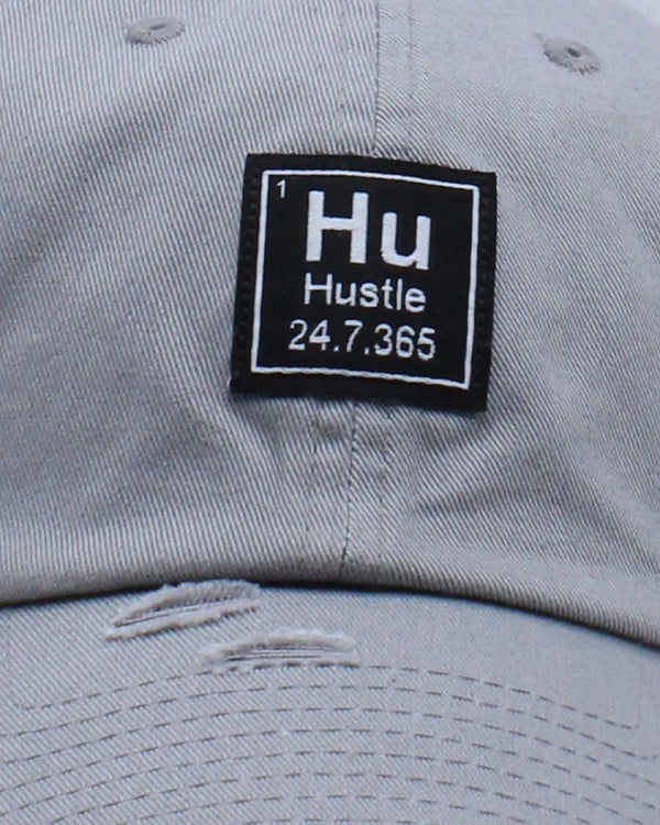 Hu Hustle Patch Ripped Dad Hat - Light Grey