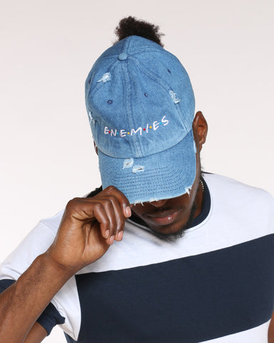 Men's Enemies Ripped Dad Hat - Denim-VIM.COM