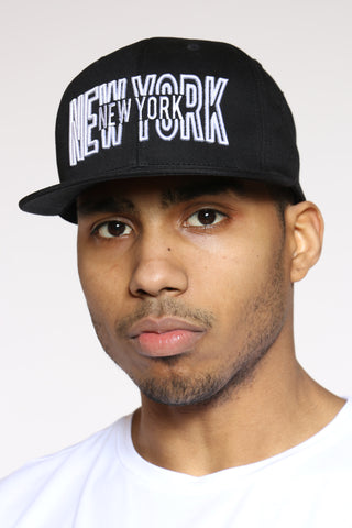 New York Snapback - Black White-VIM.COM
