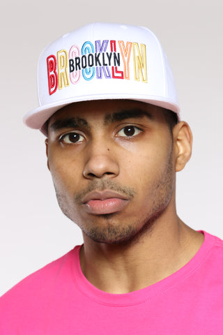 Brooklyn Embroidered Snapback - White
