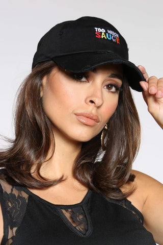 Women's Too Much Sauce Rips Dad Hat - Black-VIM.COM