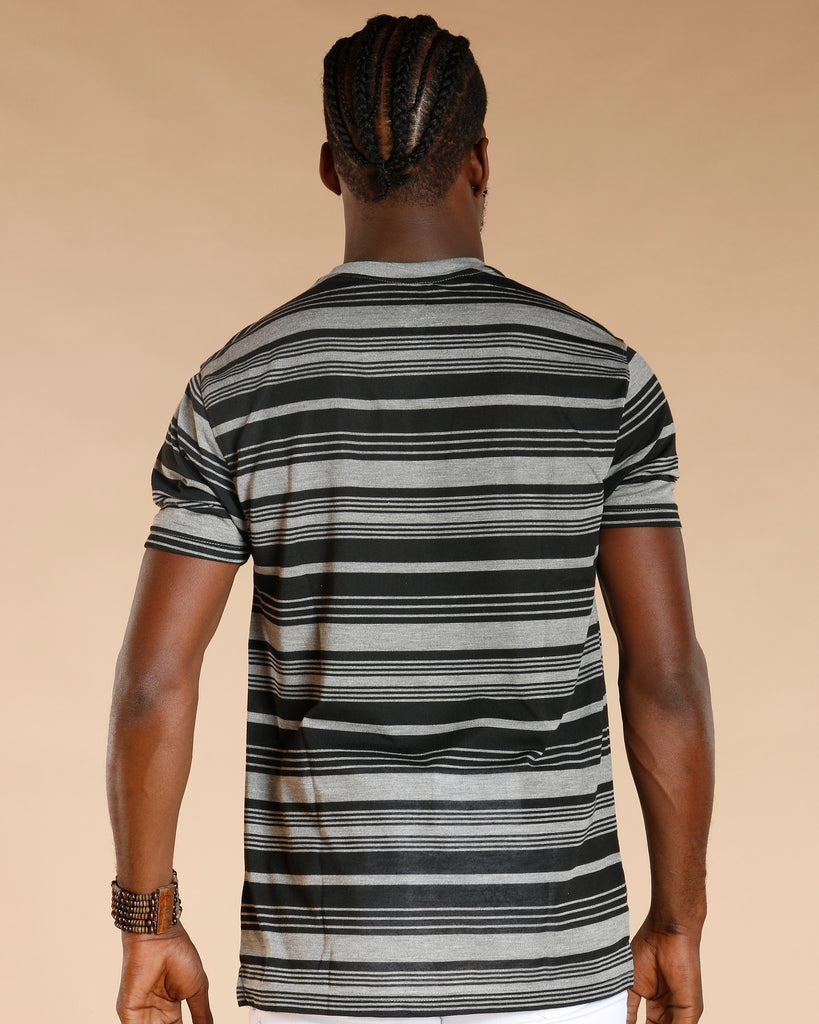 Striped Crew Neck Henley Tee (Available In 2 Colors)