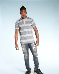 Men's STRIPED HENLEY SHIRT  (AVAILABLE IN 4 COLORS)