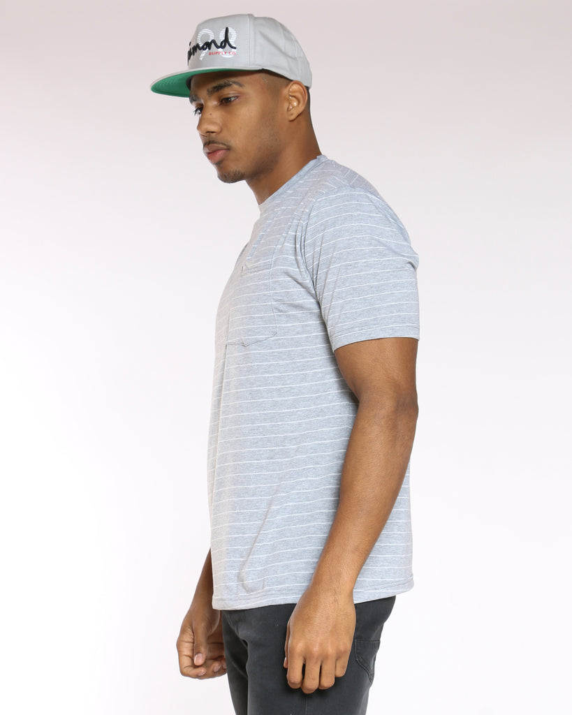 Billy Striped Pocket Tee - Light Grey