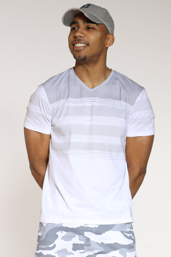 Moe V Neck Stripe Shirt - White